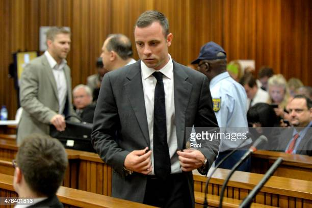 This handout image supplied by Gallo Images shows Oscar Pistorius at the Pretoria High Court on March 3 in Pretoria, South Africa. Pistorius, stands...