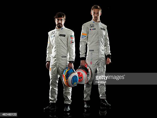 This handout image supplied by McLarenHonda shows McLarenHonda drivers Jenson Button and Fernando Alonso during the launch of the car on January 29...