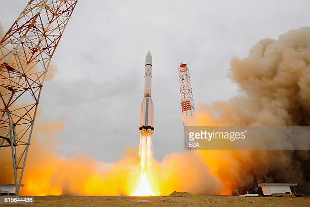 This handout image supplied by the European Space Agency shows ExoMars 2016 lifting off on a ProtonM rocket from Baikonur Kazakhstan at 0931 GMT on...
