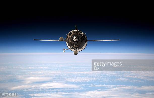 This handout image supplied by the European Space Agency shows a view of Soyuz 46S as it approaches the International Space Station March 20 2016 ESA...
