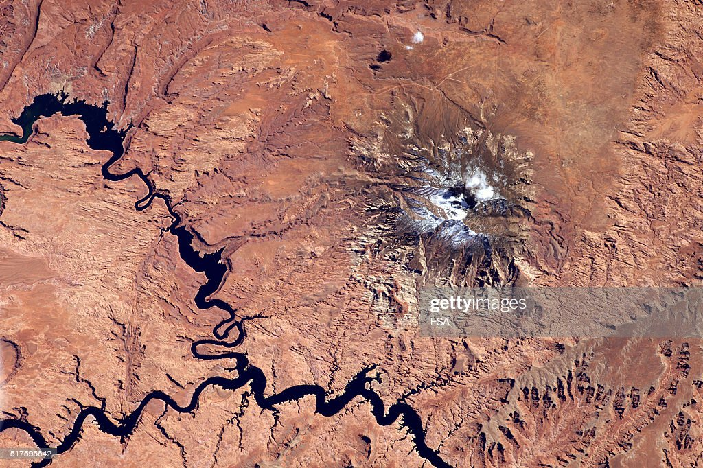 This handout image supplied by the European Space Agency (ESA), shows a view of Navajo Mountain in Utah, in an image taken by ESA astronaut Tim Peake on the International Space Station, March 9, 2016. ESA astronaut Tim Peake is performing more than 30 scientific experiments and taking part in numerous others from ESA's international partners during his six-month mission, named Principia, after Isaac Newtons ground-breaking Naturalis Principia Mathematica, which describes the principal laws of motion and gravity.