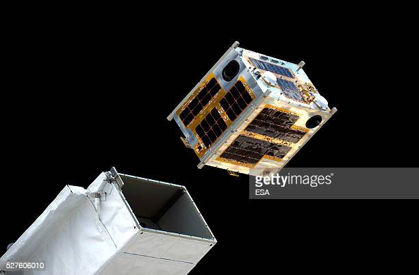 This handout image supplied by the European Space Agency shows a view of DIWATA1 the first Filipino microsatellite as it is launched from the...