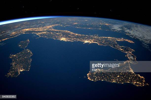 This handout image supplied by the European Space Agency shows an aerial view over Italy at night from the International Space Station on May 21 2016...
