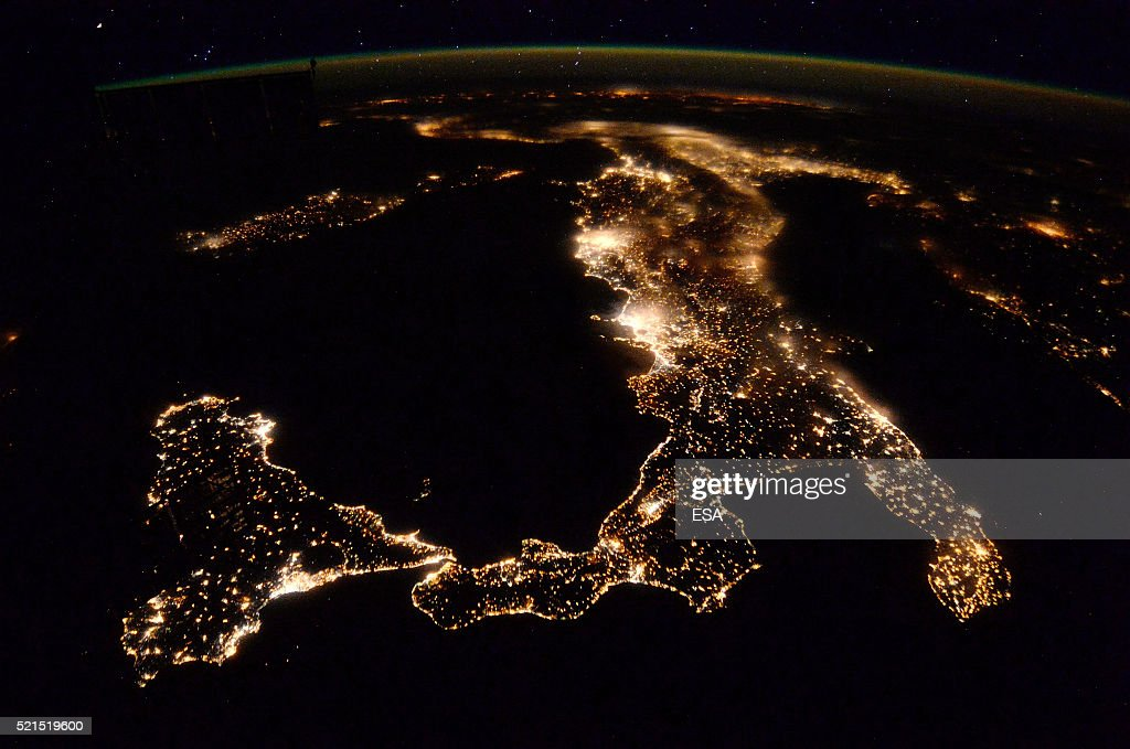 This handout image supplied by the European Space Agency (ESA), shows southern Italy and Sicily, in an image taken by ESA astronaut Tim Peake from the International Space Station on April 5, 2016. ESA astronaut Tim Peake is performing more than 30 scientific experiments and taking part in numerous others from ESA's international partners during his six-month mission, named Principia, after Isaac Newtons ground-breaking Naturalis Principia Mathematica, which describes the principal laws of motion and gravity.