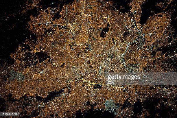 This handout image supplied by the European Space Agency shows the city of Sao Paulo Brazil in an image taken by ESA astronaut Tim Peake from the...