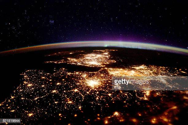 This handout image supplied by the European Space Agency shows the Unired Kingdom northern France and Belgium with the northern lights further to the...