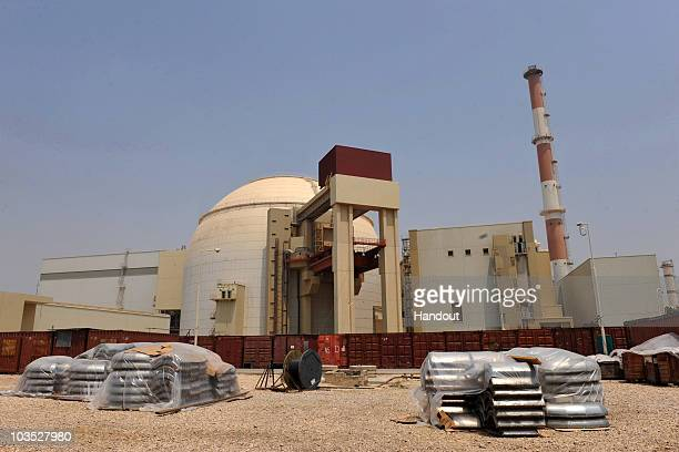 This handout image supplied by the IIPA shows a view of the reactor building at the Russian-built Bushehr nuclear power plant as the first fuel is...