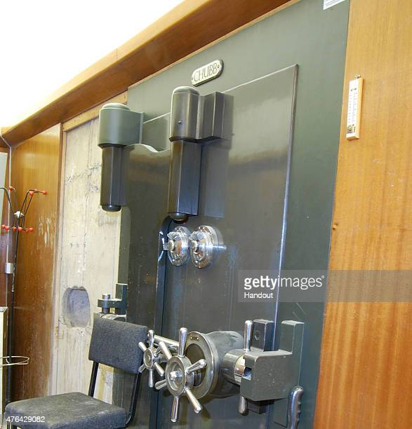 This handout image supplied by the Metropolitan Police, shows a view of the vault door at Hatton Garden Safe Deposit Limited following the Easter...