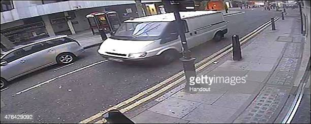 This handout image supplied by the Metropolitan Police, shows a white van, reg DU53 VNG, seen in the Hatton Garden area over the Easter weekend when...
