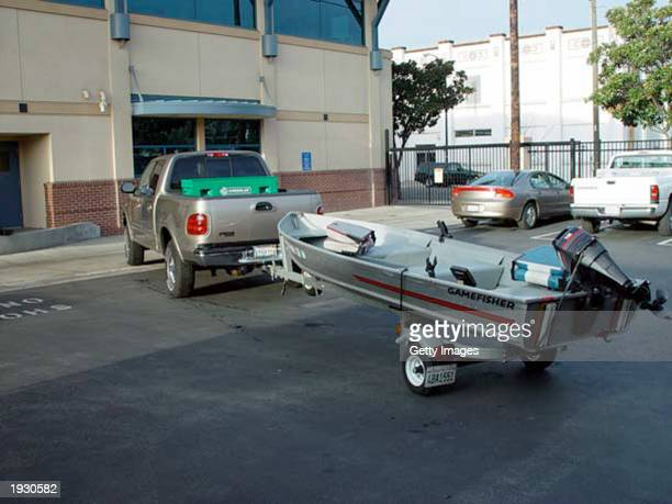 This handout photo from the Modesto Police shows a Ford F150 pickup with a fishing boat belonging to Scott Peterson January 3 2003 in Modesto...