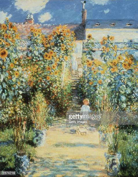 This handout photo from The National Gallery of Scotland shows a painting entitled 'The Artist`s Garden at Vetheuil' by the artist Monet The...