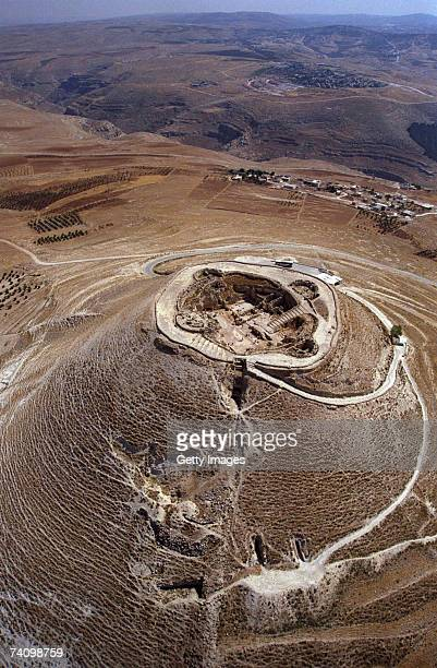 This handout photo provided by the Israeli Government Press Office shows an aerial view of the man-made hilltop fortress of Herodion near the West...