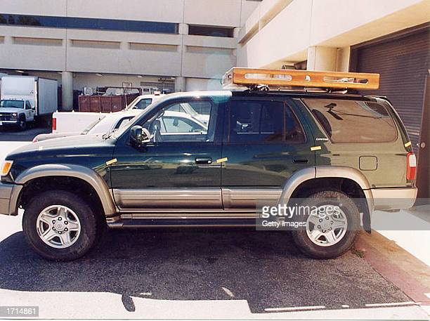 This handout photo showing a green 1999 Toyota sport utility vehicle belonging to Andrew Luster heir to the Max Factor cosmetics fortune was released...
