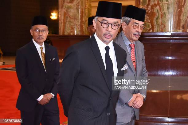 This handout photo taken and released by Malaysia's Department of Information on January 24, 2019 shows Sultan Abdullah ibni Sultan Ahmad Shah of...