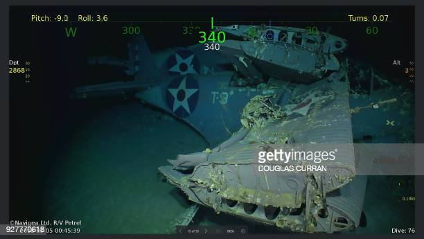 This handout photograph photo obtained March 5 2018 courtesy of Paul G Allen shows wreckage from the USS Lexington a US aircraft carrier which sank...