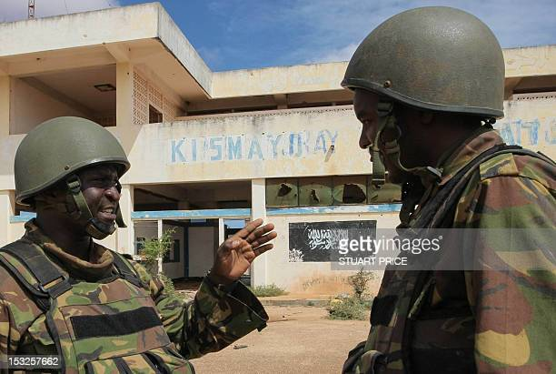 This handout photograph released by the African UnionUnited Nations Information Support Team on October 2 2012 shows soldiers of the Kenyan...