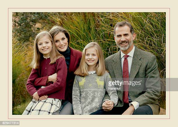 This handout picture provided by the Royal House Press department on December 13 shows the personal Christmas card of Their Majesties the King and...
