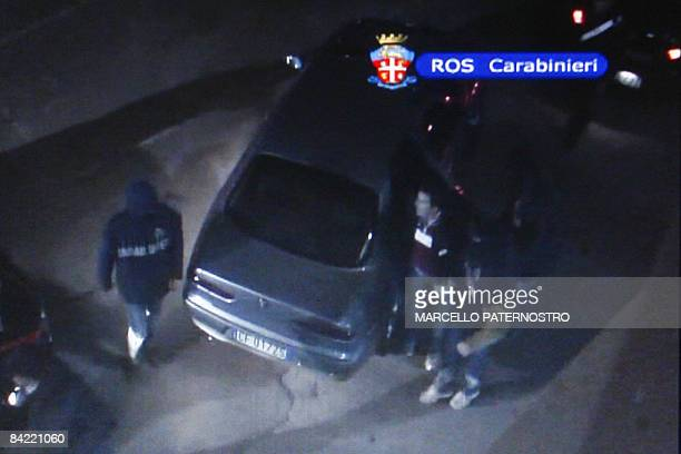 This handout picture taken froma video released by Italian Carabinieri in Palermo on January 9 2009 shows Giuseppe Salvatore Riina one of the sons of...