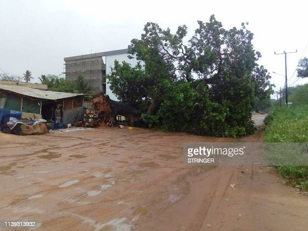 This handout picture taken on April 25 2019 and provided by the World Food Programme shows a damaged house in Cabo Delgado Mozambique where cyclone...