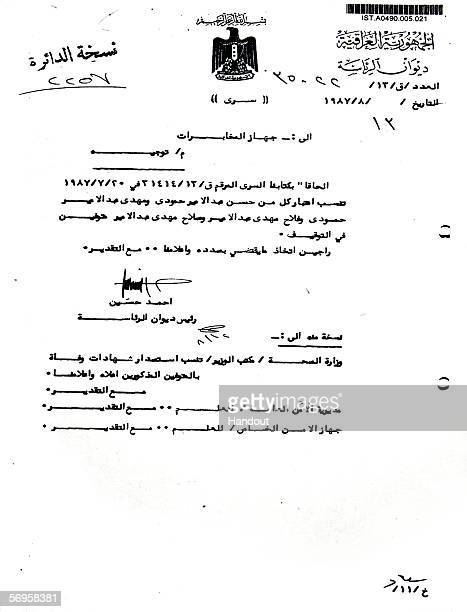 This handout provided by Iraqi High Tribunal is a letter entered as evidence in the trial of Saddam Hussein in Baghdad February 28 2006 A Presidency...