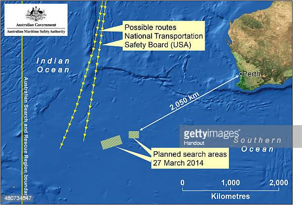 OCEAN This handout Satellite image made available by the AMSA shows a map of the planned search area for missing Malaysian Airlines Flight MH370 on...