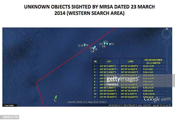 OCEAN This handout Satellite image made available by the MRSA and dated March 23 shows the location of unknown objects in the southern Indian Ocean...