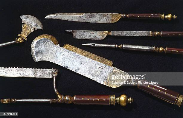This highly decorated set of steel instruments was probably used for carrying out amputations and for cutting up deer killed by hunting In the 16th...