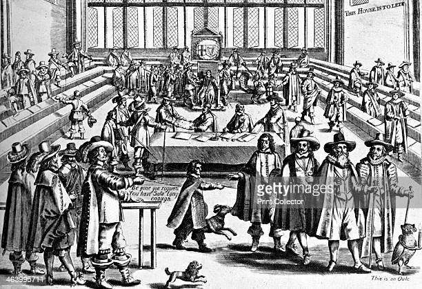 'This House is to Let' c1650s Satirical print depicting Oliver Cromwell's expulsion of the members from the House of Commons Be gone you rogues you...