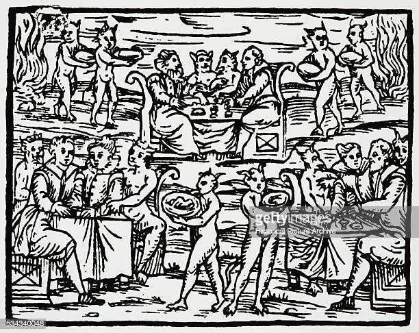 This illustration from the Compendium Maleficarium shows witches in the form of their animal familiar showing their allegiance to the Devil