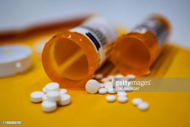 This illustration image shows tablets of opioid painkiller Oxycodon delivered on medical prescription taken on September 18 2019 in WashingtonDC...