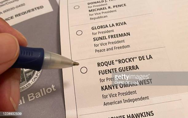 This illustration photo shows a California ballot for the 2020 US presidential election listing US rapper Kanye West as Vice Presidential running...