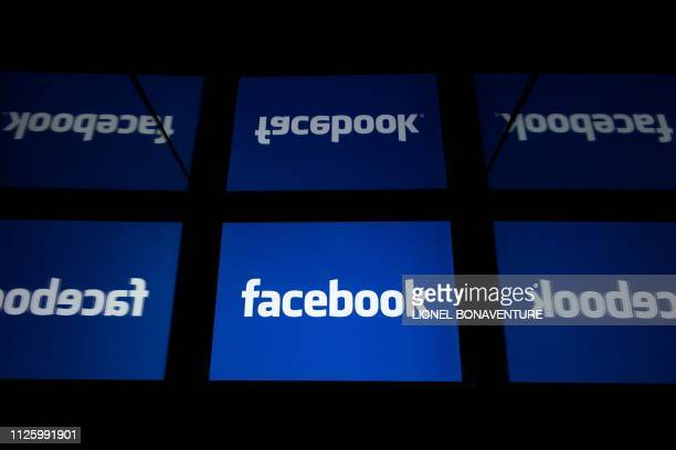 This illustration picture shows the US social media Facebook logo displayed on a tablet in Paris on February 18 2019