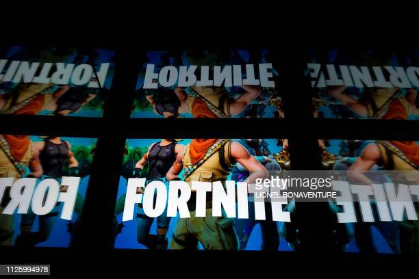 This illustration picture shows the video game Fortnite logo displayed on a tablet in Paris, on February 18, 2019.