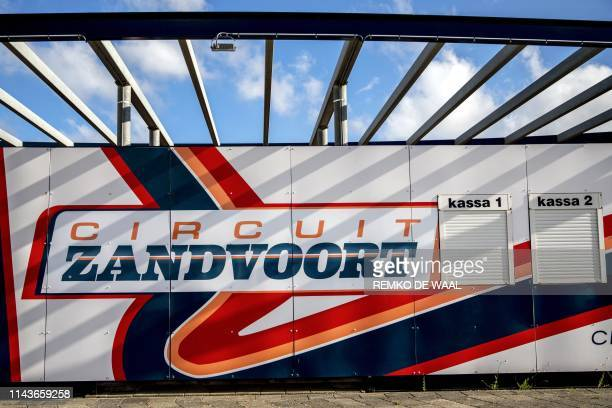 This illustration picture taken on May 14, 2019 in Zandvoort shows the logo of the Circuit Zandvoort as a press conference will take place today at...