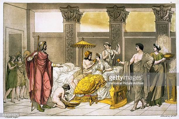This illustration was published in a book by Giulio Ferrario in the early 1800s The image is based on a painting by Winkelmann after an antique Greek...
