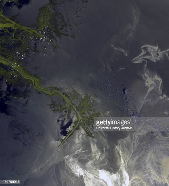 This image acquired on May 24 2010 shows oil from the former Deepwater Horizon rig encroaching upon several of Louisiana's wildlife habitats The...