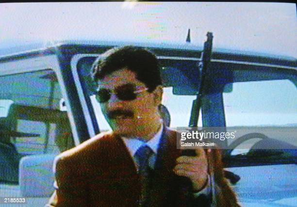This image capture from video taken from a Jordanian official television station shows Qusay Hussein the son of Iraqi President Saddam Hussein...