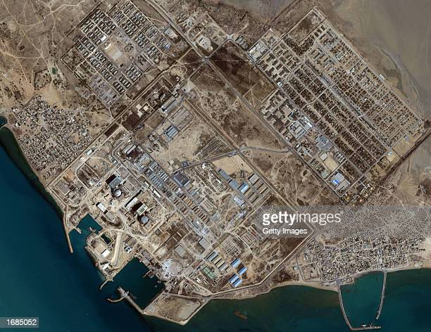 This image captured by a satellite on May 19 2001 shows the Bushehr Reactor in Iran The nuclear facility is located approximately 17 kilometers south...