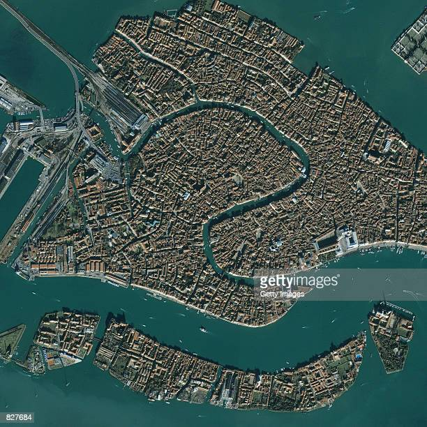 This image captured by a satellite on November 27 2000 shows the city of Venice Italy Venice has more than 400 bridges that span 114 canals Points of...
