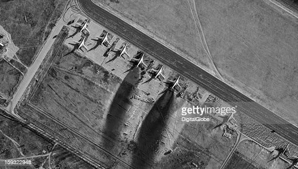 This image from December 19 2012 shows jet blasts that melted the snow behind many of the bombers giving an indication of flight operations at Engels...