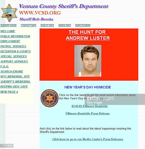 This image from the Ventura County Sheriff's Department web site shows an image of Andrew Luster heir to the Max Factor cosmetic fortune January 8...