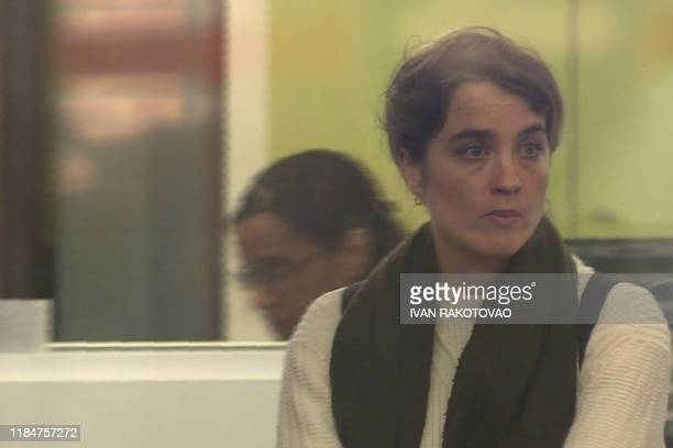 TOPSHOT This image grab taken from an AFP video shows French actress Adele Haenel waiting at the Central Office for the Suppression of Violence...