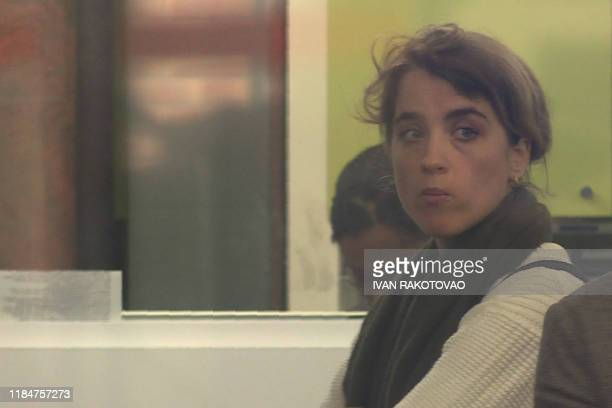 This image grab taken from an AFP video shows French actress Adele Haenel waiting at the Central Office for the Suppression of Violence against...