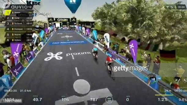 This image grab taken on April 5 2020 from Belgian channel RTBF shows the Virtual Tour of Flanders cycling race The 104th edition of the cycling race...