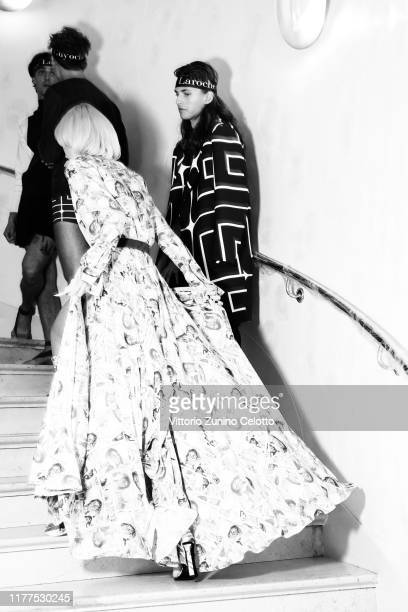 This image has been converted in black and white] A model poses backstage ahead of the Guy Laroche Womenswear Spring/Summer 2020 show as part of...