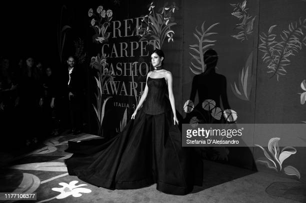 This image has been converted in black and white] Benedetta Porcaroli attends the Green Carpet Fashion Awards during the Milan Fashion Week...