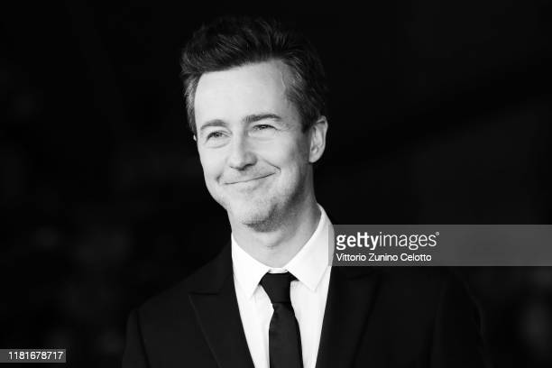 """This image has been converted in black and white] Edward Norton attends the """"Motherless Brooklyn"""" red carpet during the 14th Rome Film Festival on..."""