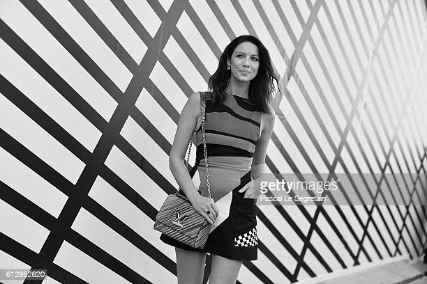 This image has been converted to Black and White Catriona Balfe attends the Louis Vuitton show as part of the Paris Fashion Week Womenswear...