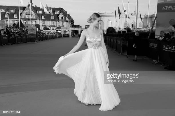 This image has been converted to black and white Elle Fanning attends the 'Galveston' Premiere during the 44th Deauville American Film Festival on...