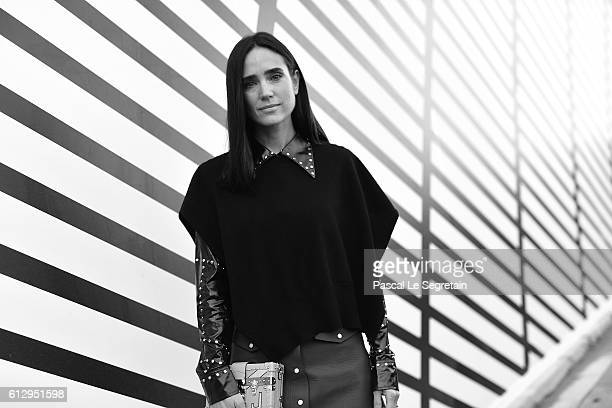 This image has been converted to Black and White Jennifer Connelly attends the Louis Vuitton show as part of the Paris Fashion Week Womenswear...